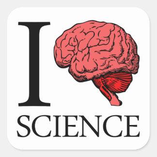 I ciencia de cerebro sé la ciencia ciencia del calcomanías cuadradass personalizadas