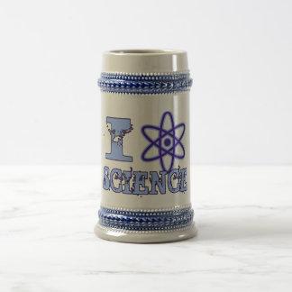 I ciencia del corazón (o símbolo atómico) jarra de cerveza