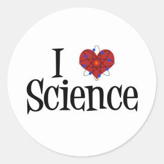 I ciencia del corazón pegatina redonda