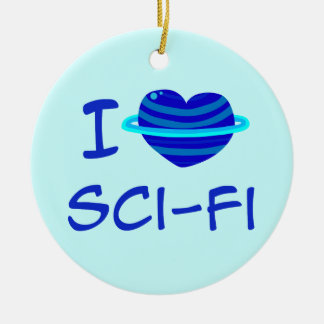 I ciencia ficción del corazón adorno redondo de cerámica