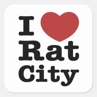 I ciudad de la rata del corazón pegatina cuadrada