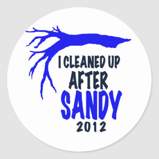 I CLEANED UP AFTER SANDY 2012 CLASSIC ROUND STICKER