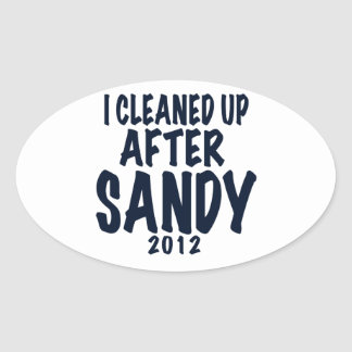 I Cleaned Up After Sandy 2012, Hurricane Sandy Oval Sticker