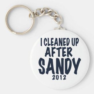 I Cleaned Up After Sandy, Hurricane Sandy gifts Basic Round Button Keychain