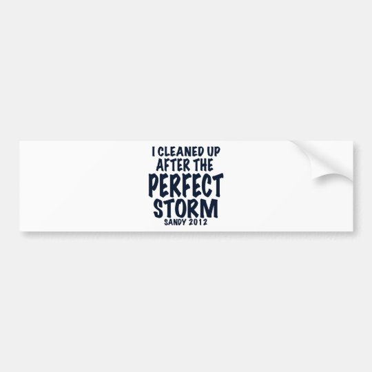 I Cleaned Up After the Perfect Storm, Sandy 2012, Bumper Sticker