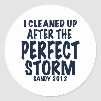 I Cleaned Up After the Perfect Storm, Sandy 2012, Classic Round Sticker
