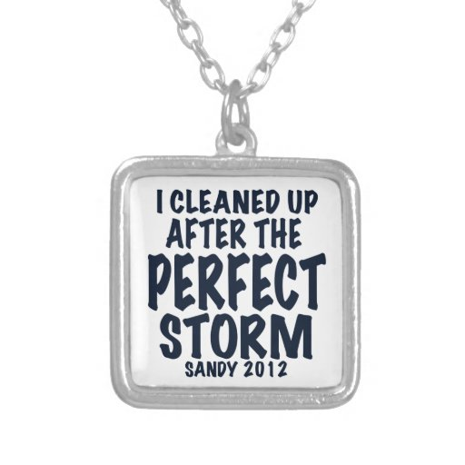 I Cleaned Up After the Perfect Storm, Sandy 2012, Square Pendant Necklace
