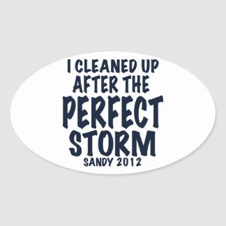 I Cleaned Up After the Perfect Storm, Sandy 2012, Oval Sticker