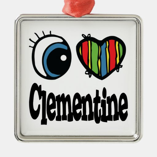 I clementina del corazón (amor) adorno navideño cuadrado de metal