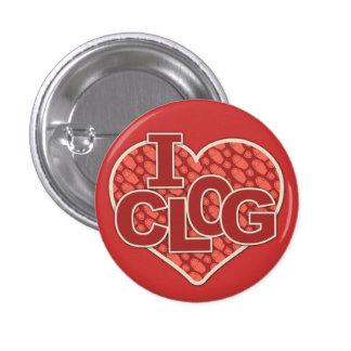I Clog Clogger Heart Clogging 1 Inch Round Button
