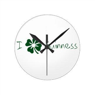 I Clover Guinness Round Clock