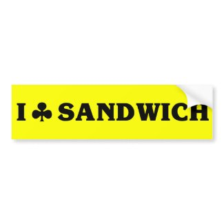 I (club) Sandwich Bumper Sticker