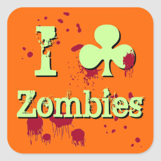 I Club Zombies Square Stickers