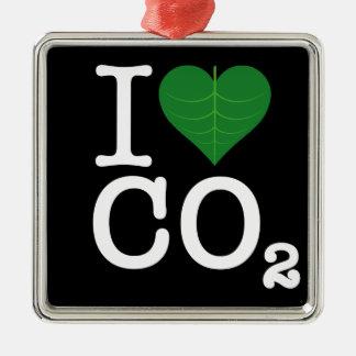 I CO2 del corazón Adorno Navideño Cuadrado De Metal