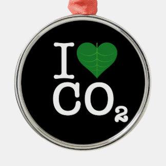 I CO2 del corazón Adorno Navideño Redondo De Metal