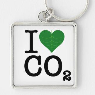 I CO2 del corazón Llavero Cuadrado Plateado