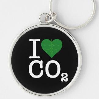I CO2 del corazón Llavero Redondo Plateado
