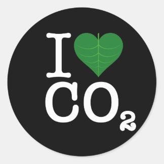 I CO2 del corazón Pegatina Redonda