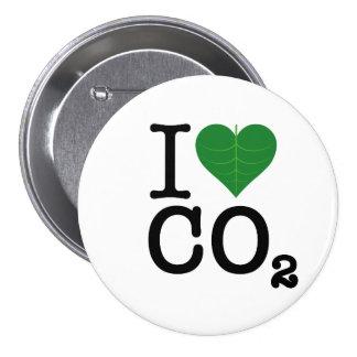 I CO2 del corazón Pin Redondo De 3 Pulgadas