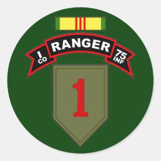 I Co, 75.o regimiento de infantería - Pegatina Redonda