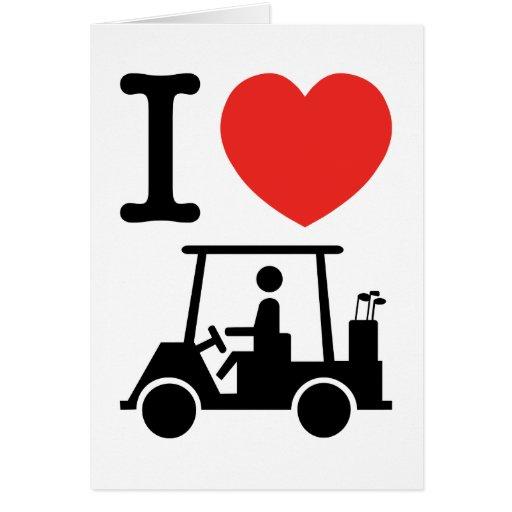 I cochecillos del golf del corazón (amor) tarjeta