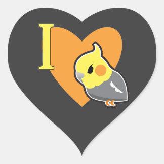 I Cockatiels del corazón Pegatina En Forma De Corazón