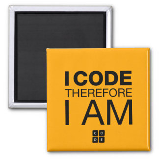 I Code Therefore I Am 2 Inch Square Magnet