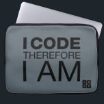 "I Code Therefore I Am Computer Sleeve<br><div class=""desc"">Show your support for Code.org. Personalize your Code.org merchandise on Zazzle.com! Click the Customize button to insert your own text or to change the background color. Zazzle&#39;s easy to customize products have no minimum order &amp; is custom made after you order.</div>"