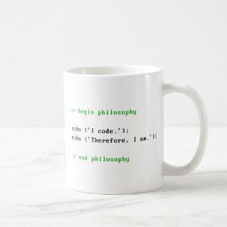 I Code. Therefore, I am. Programmer's Philosophy. Coffee Mug