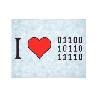 I códigos binarios del corazón impresión en lienzo