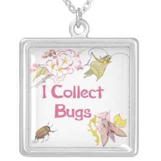 I Collect Bugs Square Pendant Necklace