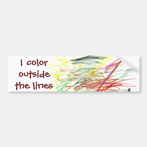 I color outside the lines car bumper sticker