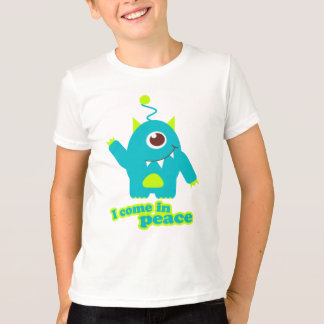 I come in peace alien aqua t-shirt