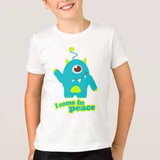 I come in peace alien aqua t-shirt