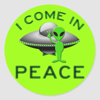 I COME IN PEACE - ALIEN CLASSIC ROUND STICKER