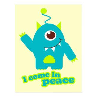 I come in peace alien postcard