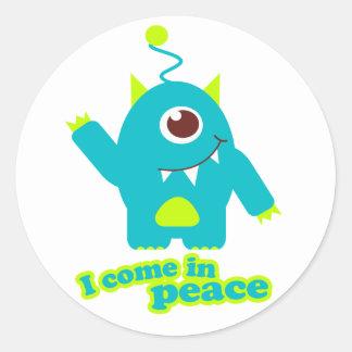 I come in peace kids alien sticker