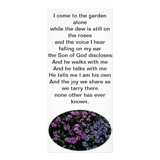 I come to the garden alone floral bookmark rack card