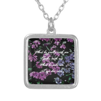 I Come to the Garden Alone Floral Square Pendant Necklace