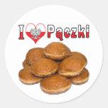 I comida polaca de Paczki del corazón Pegatina Redonda