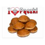 I comida polaca de Paczki del corazón Postal
