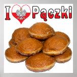 I comida polaca de Paczki del corazón Posters