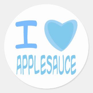 I compota de manzanas del corazón (amor) pegatina redonda