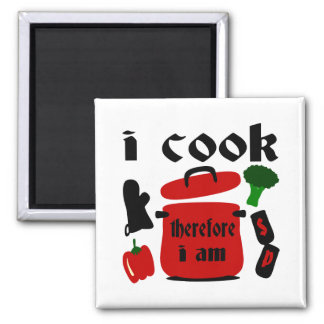 I Cook, Therefore I Am With Big Red Pot And Lid Magnet