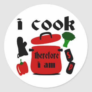 I Cook, Therefore I Am With Big Red Pot And Lid Round Stickers