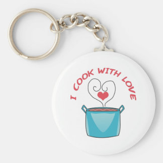 I COOK WITH LOVE BASIC ROUND BUTTON KEYCHAIN
