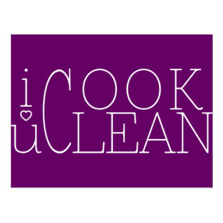 i cook you clean. i love you post cards