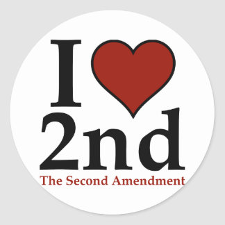 I corazón 2do (segunda enmienda) pegatina redonda
