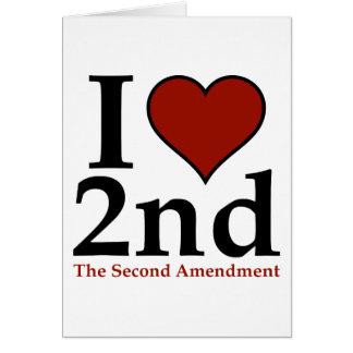 I corazón 2do (segunda enmienda) tarjeta de felicitación