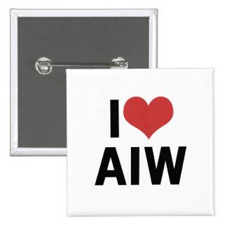 I corazón AIW Pin Cuadrado